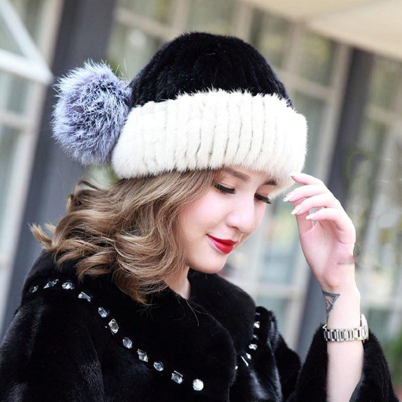 New mink hat Ladies fashion Fox fur ball fur hat Mink knit hats Casual mink hat Female Headgear MZ032(China (Mainland))