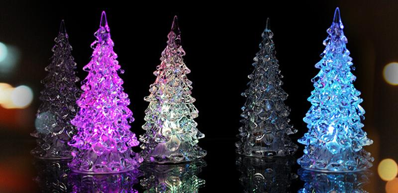 LED 7 Colors Changing Acrylic Christmas Tree Night Light Lamp Home Decor Gift