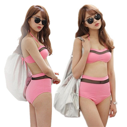 Elegant see through look strip high waisted summer bikini 2 pcs/set female swimsuit beach wear.58.21884.Free shipping(China (Mainland))