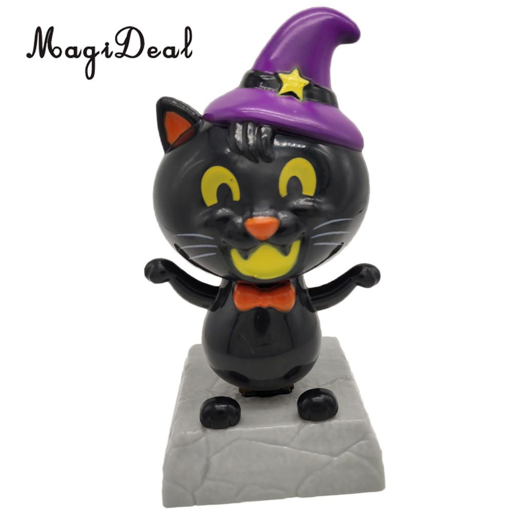 Adorable Dancing Cat with Witch Hat Statue Figure, Plastic Bobbleheads Doll, Home Office Car Dashboard Ornament