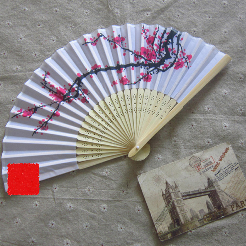 Retro Style Exquisite Japanese Silk Plum flower Folding Hand Fan Wedding Party Prom high end crafts women folding fans(China (Mainland))