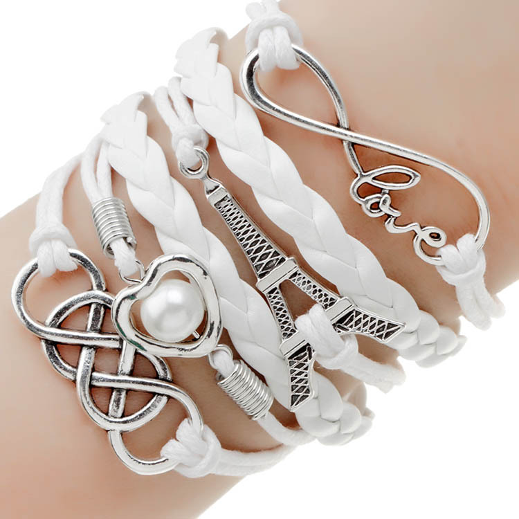 2014 new fashion jewelry infinite double leather multilayer Charm bracelet factory price for woman jewelry wholesale(China (Mainland))