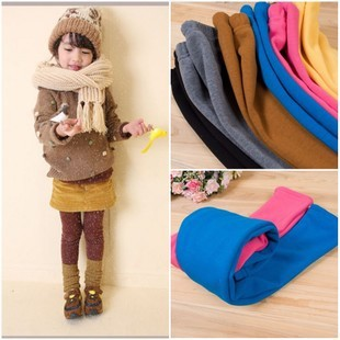 Children's clothing 2012 autumn and winter plus velvet thickening multi-colored candy color female child legging baby children's