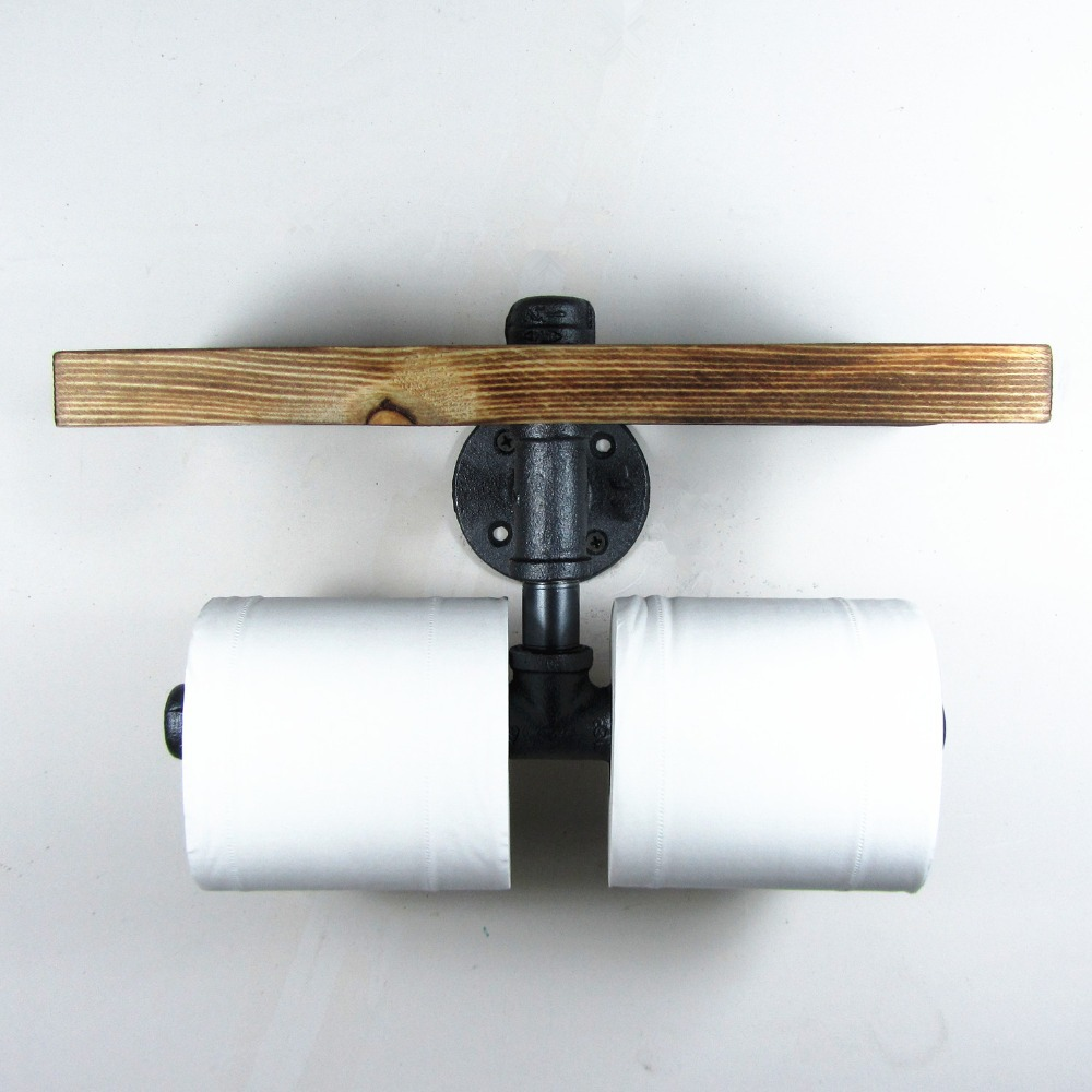 Urban industrial style wall mount iron pipe double toilet Wood toilet paper holders
