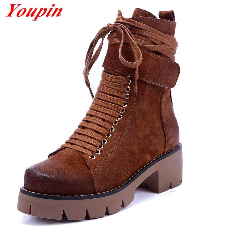Woman fashion short boots 2015 Autumn Winter Black Yellow ankle boots Casual Waterproof platform Cross straps Explosion models<br><br>Aliexpress
