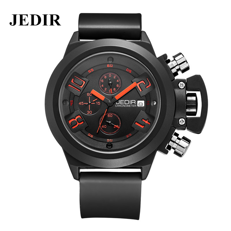 JEDIR Original CHRONOGRAPH Men's Sport Watch Silicone Army Military Wrist Watch Montre Homme Male Quartz Reloj Digital Watches(China (Mainland))