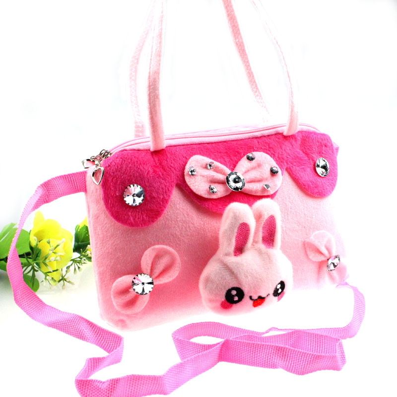5 Style Beautiful Portable Plush Child Handbag Messenger Small Women's Cartoon Small Casual Bag kids toys(China (Mainland))