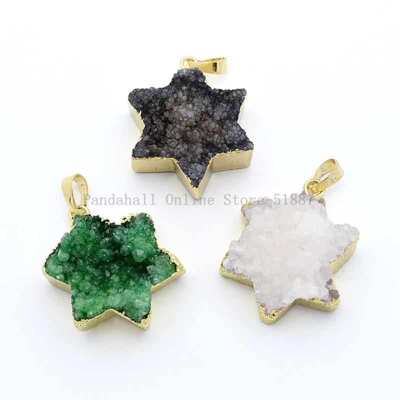 Star of David Electroplated Natural Agate Crystal Brass Pendants, Golden, 41x39x11mm, Hole: 5x7mm(China (Mainland))