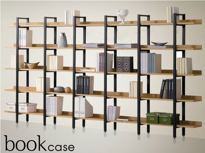 Special iron wood bookcase shelves shelving combination ...