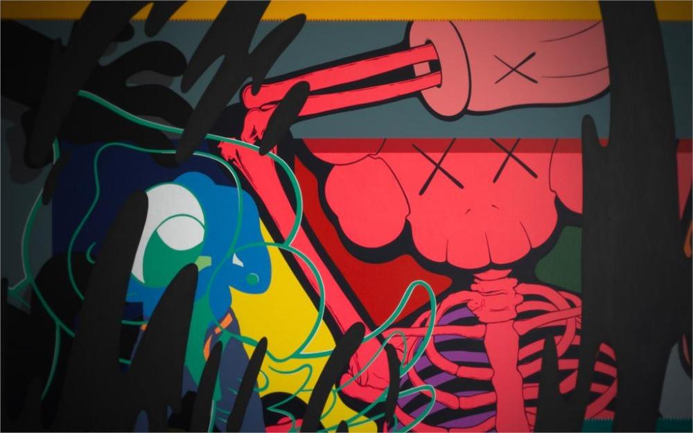 24X36 INCH / ART SILK POSTER / Dark psychedelic trippy graffiti color dark music headphones skull urban abstract(China (Mainland))