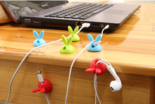 4X Cute Rabbit Ears Cable Wire Organizer Clip Tidy USB Charger Cord Holder For Phone Computer Cable Winder