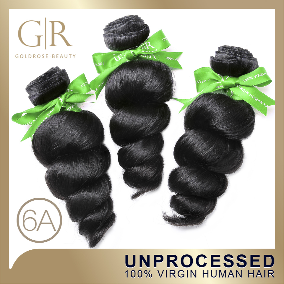 Гаджет  Free Shipping Brazilian Virgin Hair Loose Wave 5A Grade Human Hair Weave 3Pcs/Lot Brazilian Loose Wave GoldRose Hair Products None Волосы и аксессуары