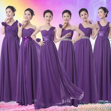 Royal Purple demoiselle d'honneur robe longue formelle en mousseline De soie violet foncé De demoiselle d'honneur aubergine Party robe robe De Festa De Casamento(China (Mainland))