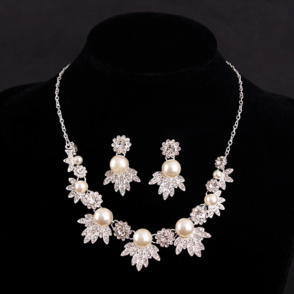 Wedding bridal jewelry set pink pearl leaf necklace for Diamond pearl jewelry sets