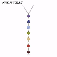 Buy QIHE JEWELRY Reiki Healing Spiritual Beads Chakra Pendant Yoga Long Tassel Chain Necklace Women Yoga Gifts Jewelry for $1.29 in AliExpress store