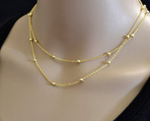 Gold Filled Layering Necklace, Double Strand Gold Necklace, Double Strand Beaded Necklace, Satellite