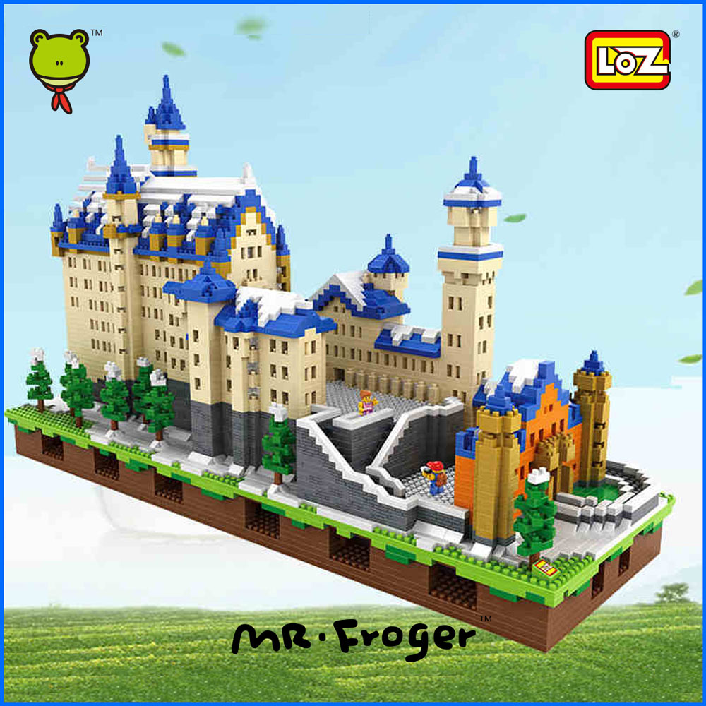 Mr.Froger LOZ Schloss Neuschwanstein New Swan Stone Castle Snow White Castle Diamond Block Minifigures Building Blocks Creator(China (Mainland))