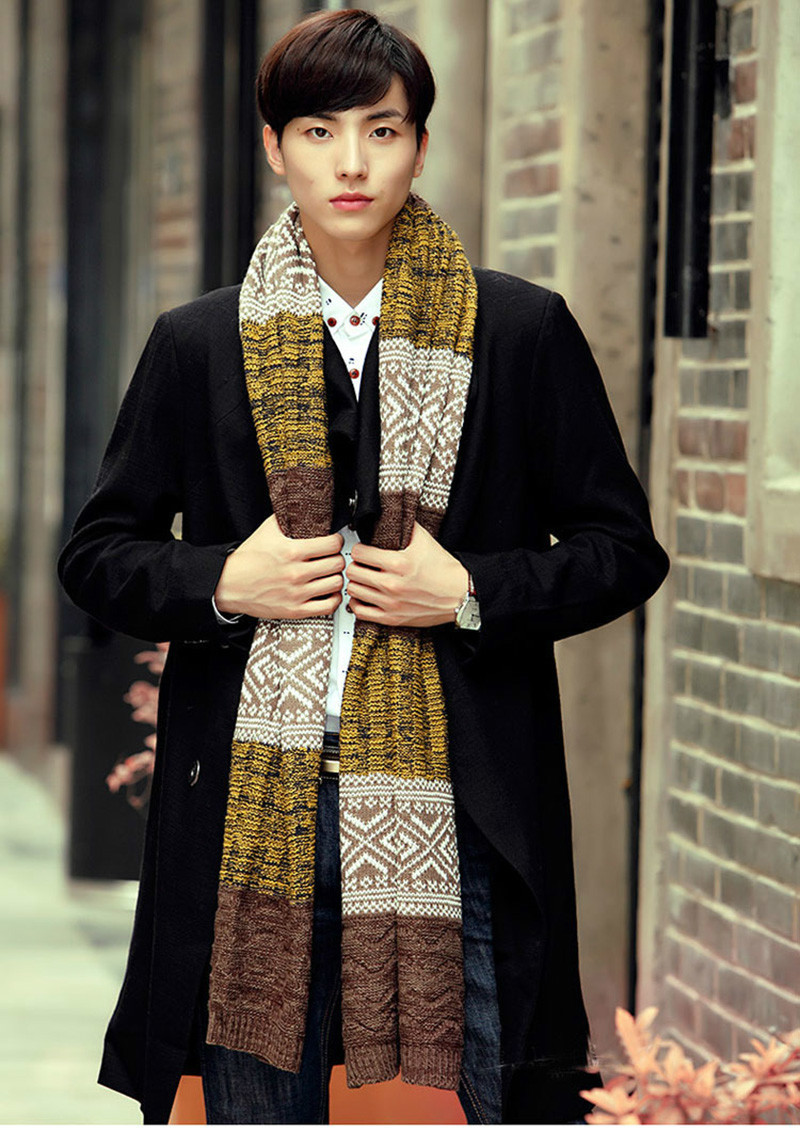 2017 Fashion Men And Women Winter Scarves Thicken Warm Knitted Wool Spelling Color male Scarf luxury brand Scarves for woman