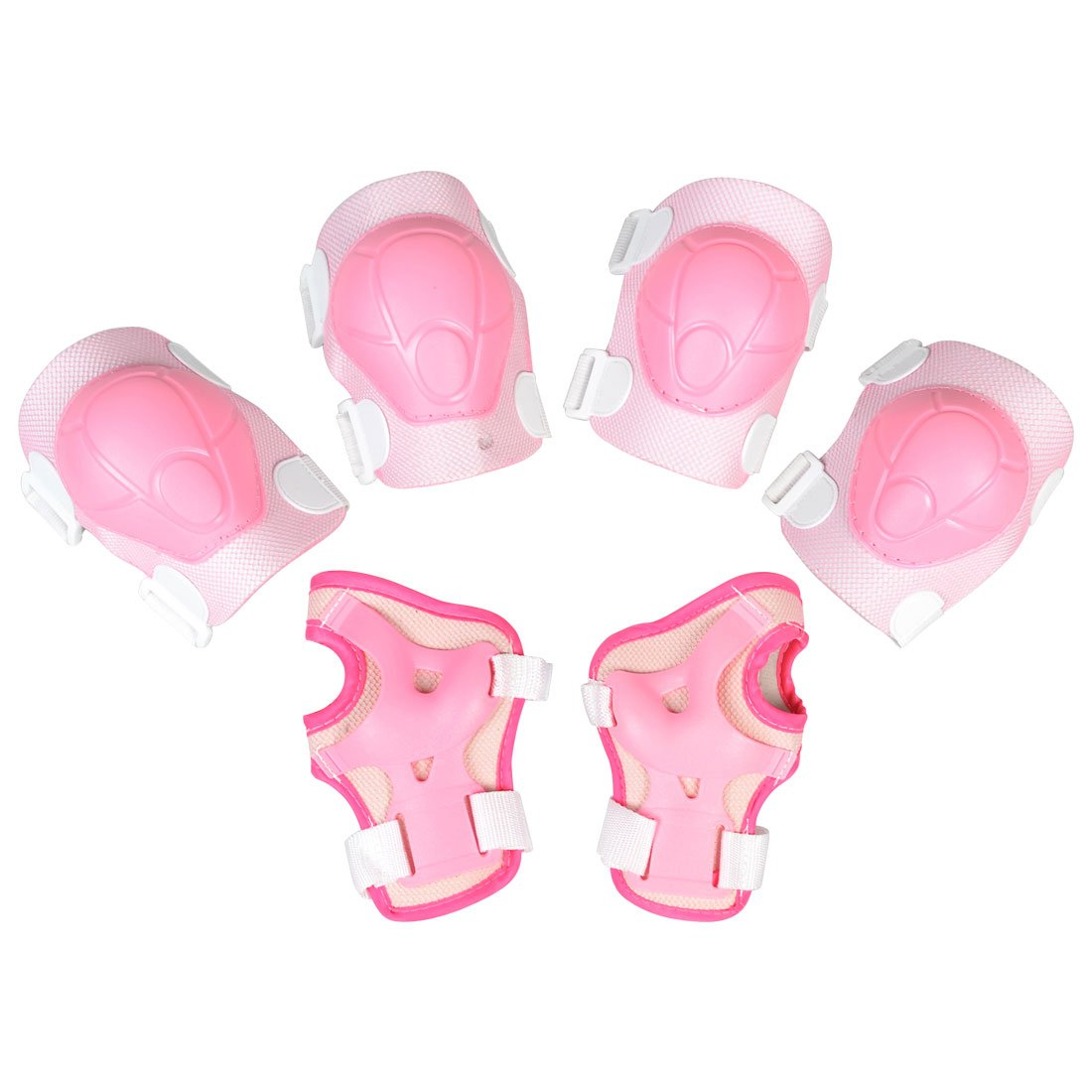 Como Children Pink White Protective Pads Palm Elbow Knee Protector Support Set 6 in 1,Free Shipping(China (Mainland))