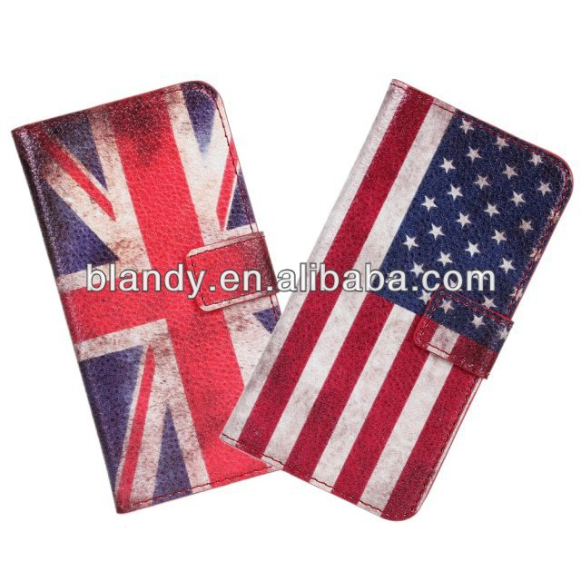 50pcs/lot free shipping Wholesale flip retro UK and USA flag leather standing case for HTC Desire 601(China (Mainland))
