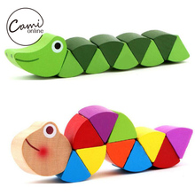 Baby New Wooden Toys Cute Transformable Crocodile Caterpillars Puzzles Fingers Flexible Training Intelligence Educational Toy(China (Mainland))