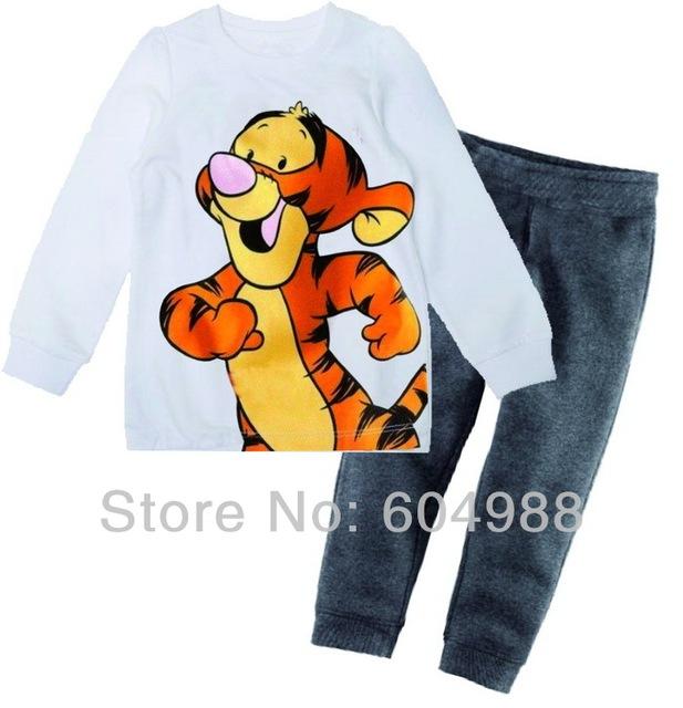 Wholesale Cartoon Style Kids Clothes Set Baby pajamas set/Suit cotton Kids/Children Pajamas Tiger Sleepwear