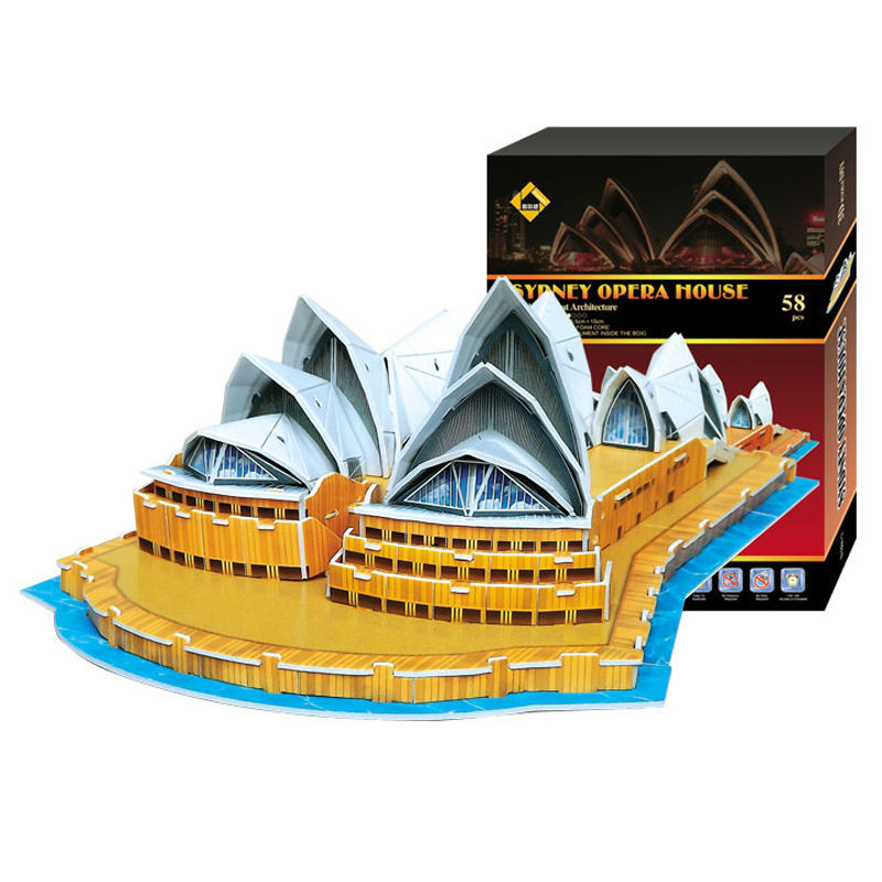 Free shipping 3D Three-dimensional Jigsaw puzzle DIY Puzzle The gift Sydney Opera House Architecture Model M(China (Mainland))
