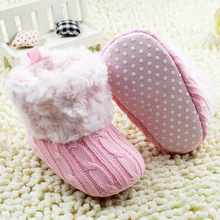 New First Walker Baby Kid Knitted Fur Snow Boots 5 Color Toddlers Soft Sole Short Boots