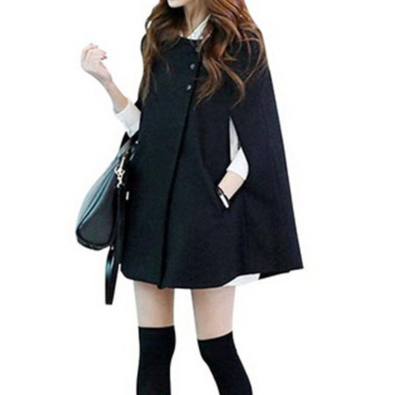 Buy New Ladies Cape Black Batwing Wool Poncho Jacket Winter Warm ...