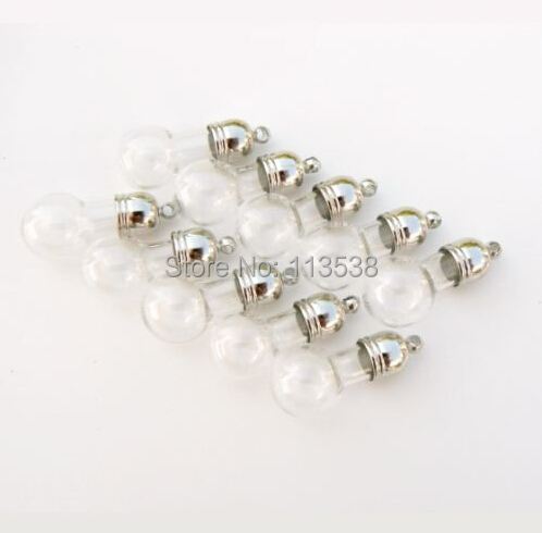 50pcs Vial Pendants SMALL balls (vials/ mini/ glass/ charms/ bottles/ glass) Glass vials pendant magic potion Charm finding(China (Mainland))