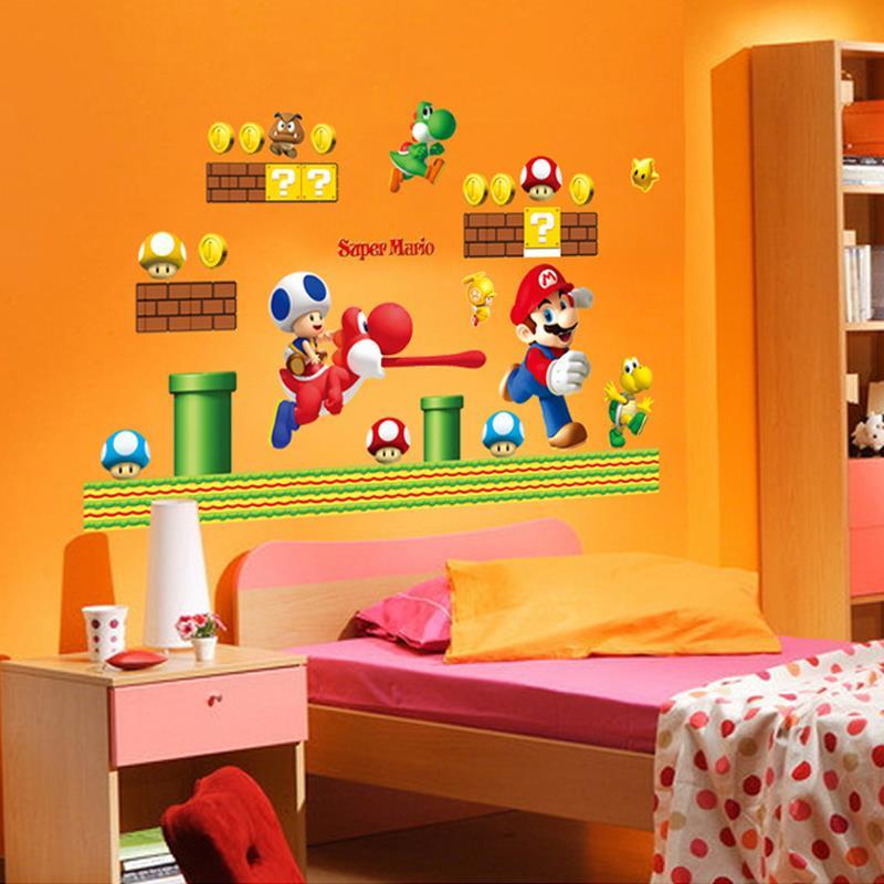 Super Mario Bros Aufkleber Art Cartoon Wandtattoos für Kinderzimmer Baby  Room Home Decoration WallPaper Poster