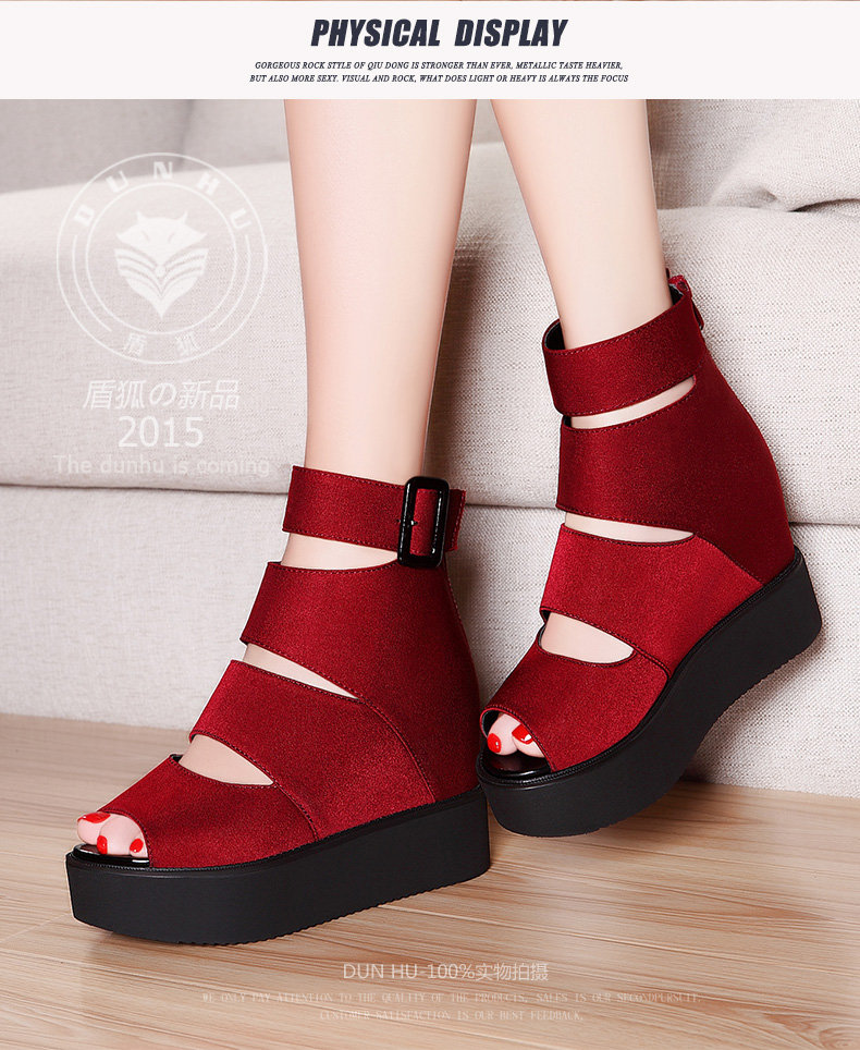 Nice Summer Platform Ankle Strap Rome Woman Shoes Comfortable Height Increasing Open Toe Flock Women Sandals