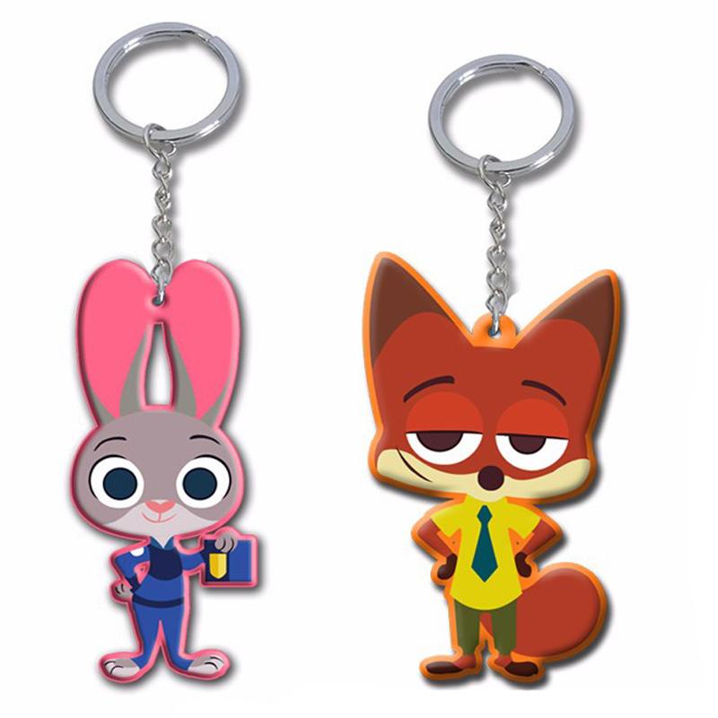 100Pcs Zootopia the Rabbit Judy Hopps Nick Fox figures keychain ring toy set  2016 New Nick Wilde Judy Hopps pendant accessories<br><br>Aliexpress