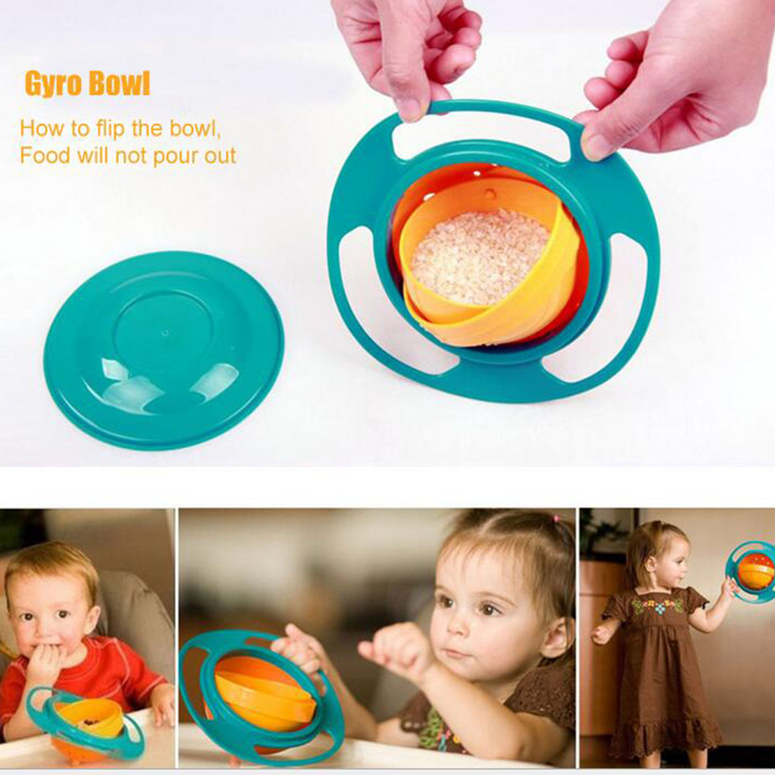 Universal 360 Rotate Spill-proof Bowl Dishes High Quality Children Kid Baby Toy Dishes Solid Feeding 2016 New(China (Mainland))