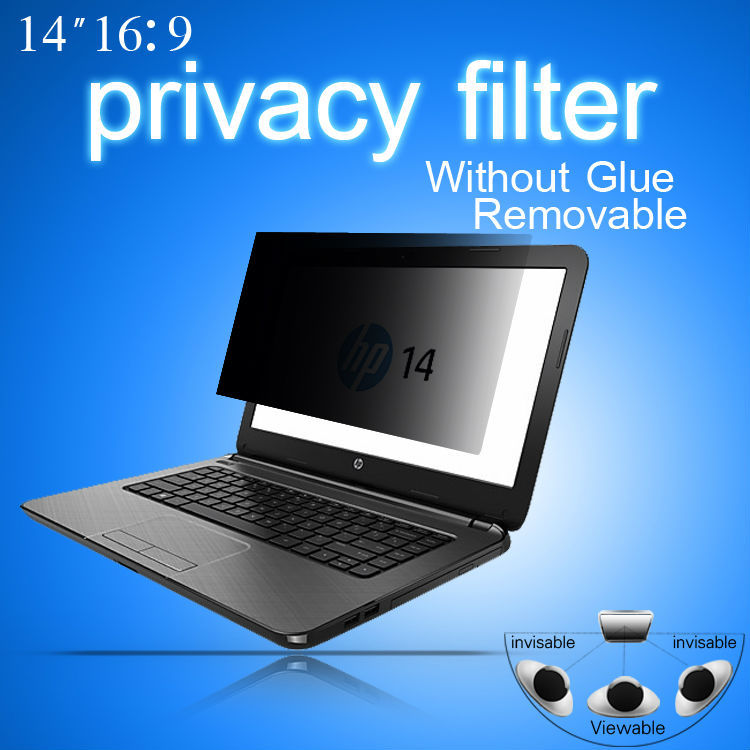 14 inch monitor 16:9 anti spy privacy filter for laptop computer LCD 0.6mm black 310*174mm No glue PET material(China (Mainland))
