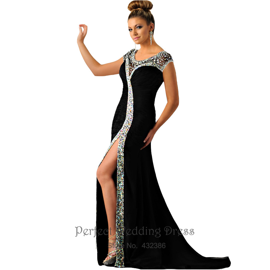2016 Hot Sale Black Evening Dress Chiffon Crystals Pleated Side Slit Long Mermaid Prom Party Gowns Robe De Soiree Wq130(China (Mainland))