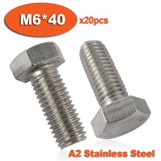 20pcs DIN933 M6 x 40 Fully Threaded Stainless Steel Bolts A2 Hexagon Hex Head Bolt Set Screw Setscrews<br><br>Aliexpress