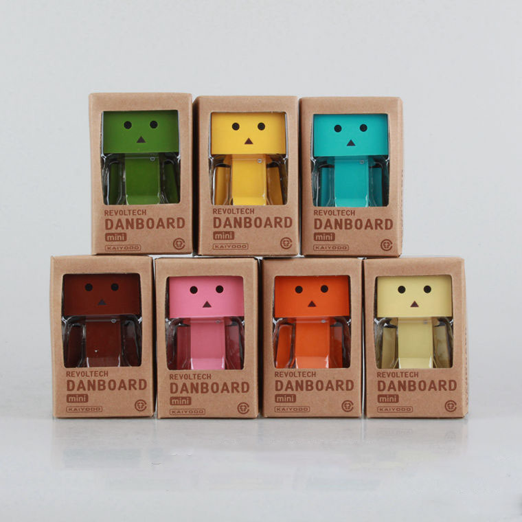 1set Lovely Colorful Danboard Mini PVC Action Figure Toy Danbo Doll LED Light 8CM - Godzone store