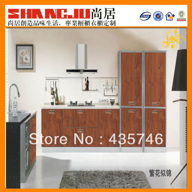 modern design Brown high gloss cabinets for small kitchen
