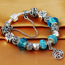 HOMOD Antique Silver Tree Of Life Charm Bracelet fits Brand Bracelet for Women DIY Beads Jewelry as Mother's Day gift(China (Mainland))