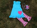 2015 new baby girl hot pink easter stripe pant set outfits with matching necklace and headband
