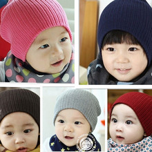 16*19 cm crochet fashion knitting Baby hat kids warm caps pure color children hats boys girls caps spring new children beanies(China (Mainland))