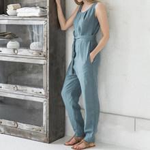 Mono de mujer Celmia 2019 pantalones de verano para oficina pantalones Harem sin mangas monos elegantes de lino Casual Palazzo 5XL(China)
