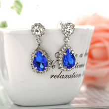 2015 Fashion Jewelry Crystal Rhinestone dangle earrings. Silver Plated water drop Earrings for elegant Women Clothes accessories(China (Mainland))