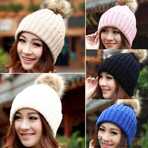 product Women Winter Warm Braided Crochet Knitting Hat Girl Beret Ski Beanie Ball Cap