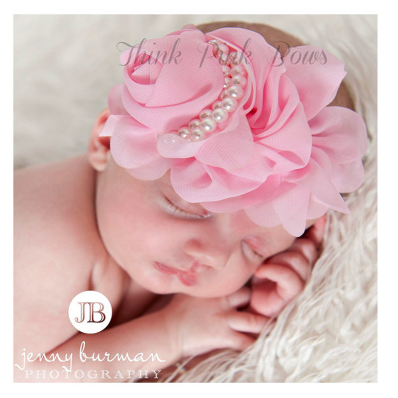 2014 Free Shipping Baby girl headband 1PCS Retail Rose Pearl newborn headband Baby girls infant headband Hair Accessories ZZ74(China (Mainland))