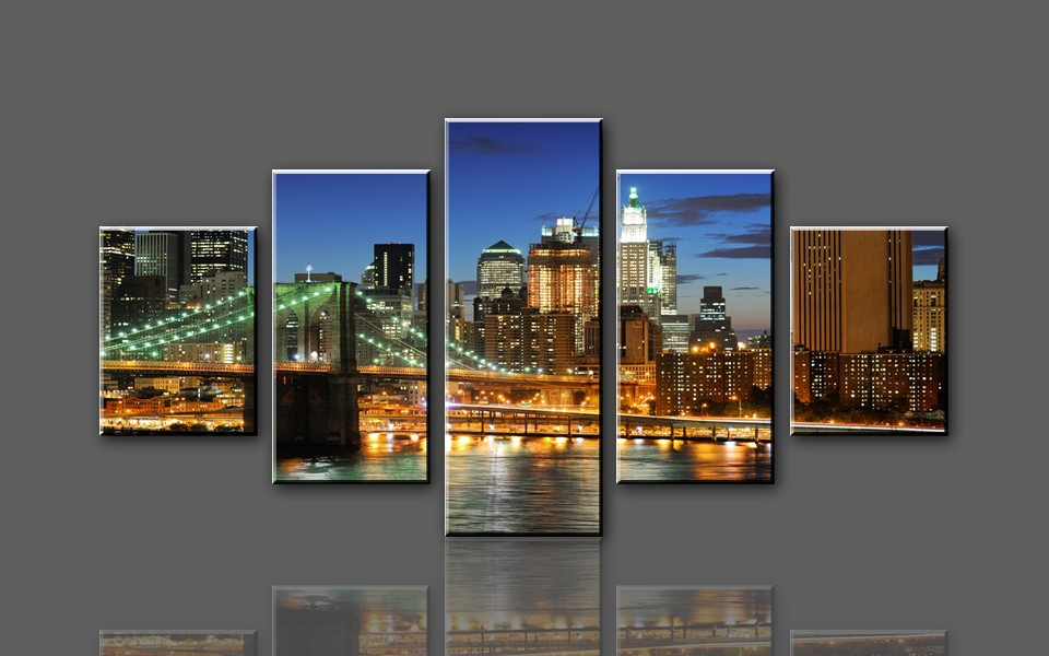 5 Panel Decorative Pictures Large Oil Painting Cheap Modern City Canvas Wall Art Painting For Living Room Canvas Prints(China (Mainland))