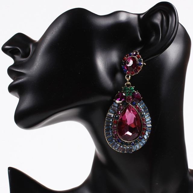 Новинка капли воды вполне просверленных с красочными кристалл серьги для женщин девушки подарки SE045
