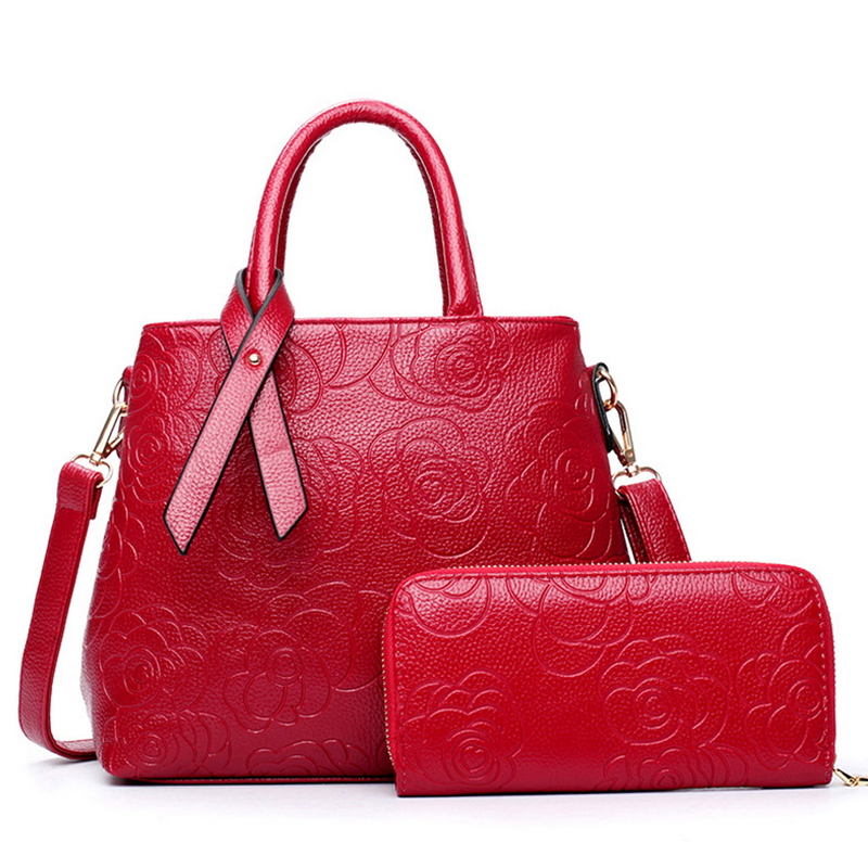 Picture two-piece women bag European fashion Rose embossed PU zipper sandwich bag double women messenger bags(China (Mainland))