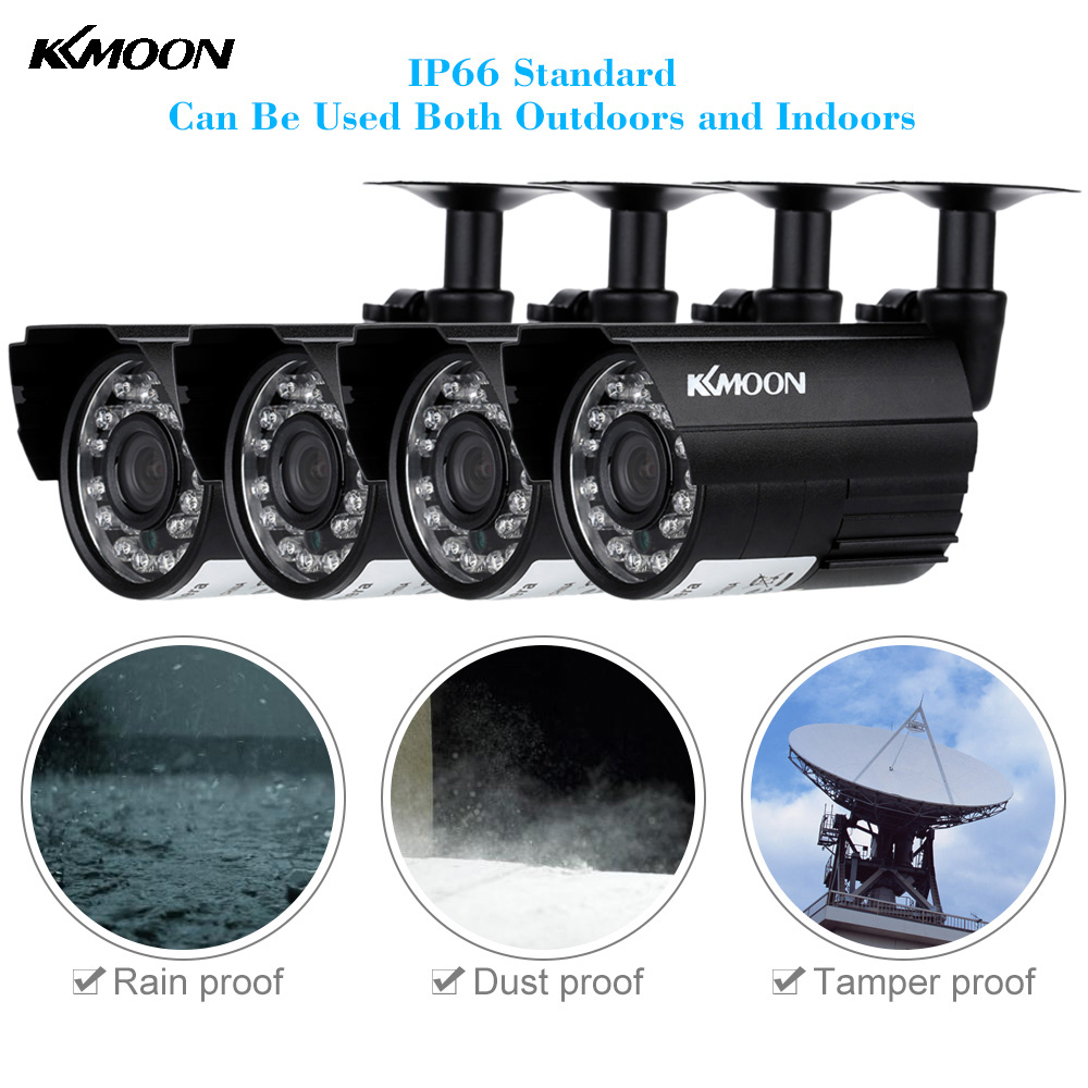 KKMOON 4pcs Waterproof AHD 720P CCTV Camera Kit IR CUT Security Camera Outdoor 3.6mm 1/4'' Bullet Camera Home Security System(China (Mainland))